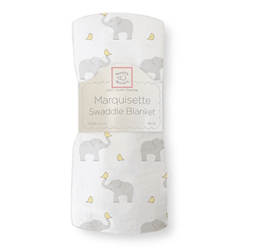 swaddle blanket with repeating elephant pattern