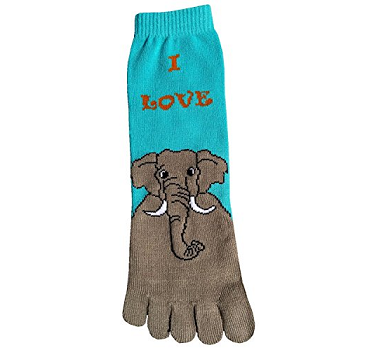 blue socks with individual toes and big grey elephant cartoon