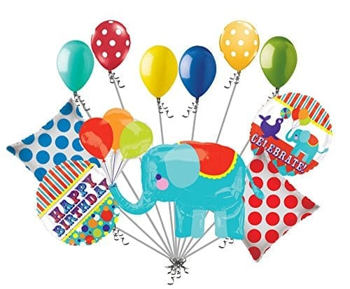 variety of balloons including elephant and happy birthday balloons
