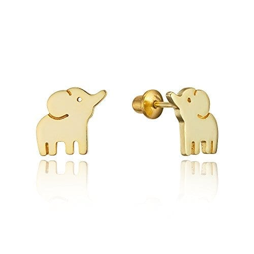 gold plated brass elephant earrings