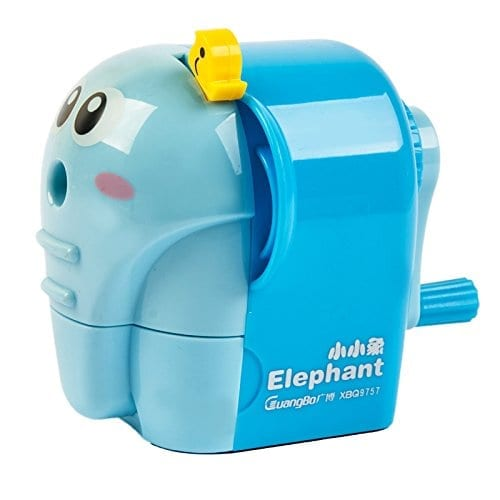 elephant pencil sharpener in blue with small yellow bird attached