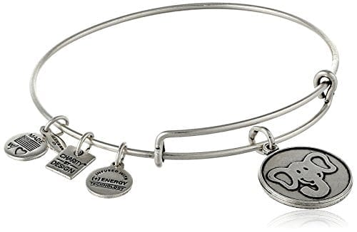 silver wire bracelet with circular elephant charm