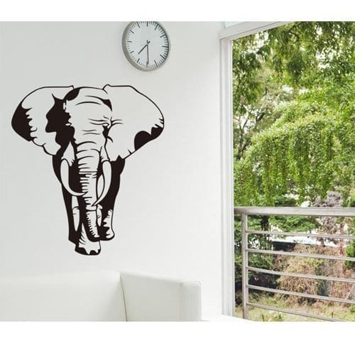 large elephant wall sticker front view