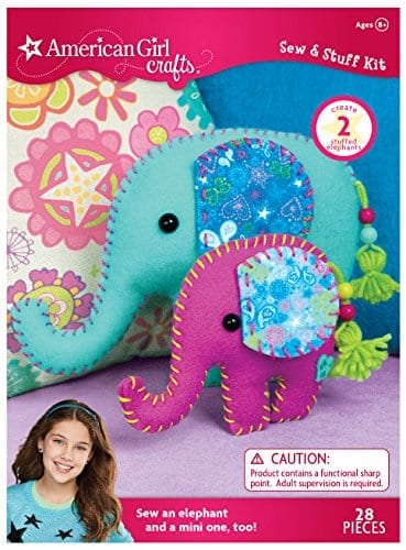 arts and crafts sewing set with sewn elephants on cover