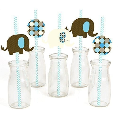 paper straws with brown white and blue elephant toppers