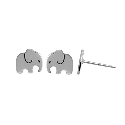simple silver elephant stud earrings