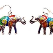 colorful enamel silver elephant earrings