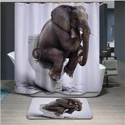 white shower curtain showing elephant sitting on a closed toilet