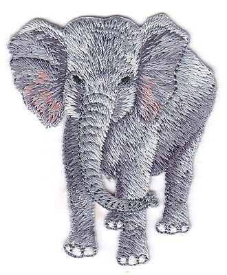 gret elephant iron on fabric patch