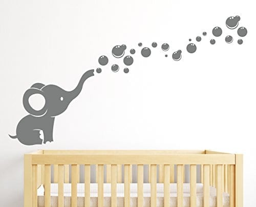 grey elephant wall sticker blowing bubbles