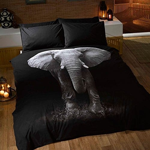 double bedding set in black with large elephant photo on comforter