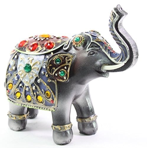 grey elephant model with colorful gem stone decorations
