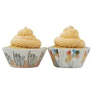 white cupcake cases with elephants and balloons on them
