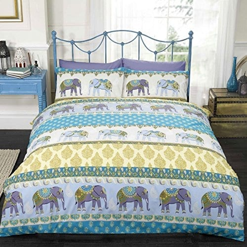 double bedding set in blue and gold with indian style patterns and decorative elephants