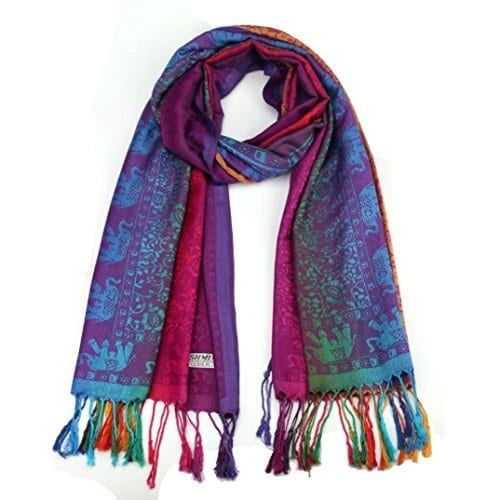 purple scarf with elephant and flower pattern