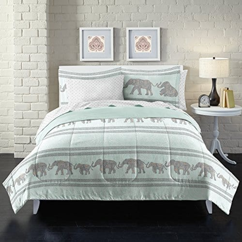 doulbe bedding set in white and grey with elephant silhouettes