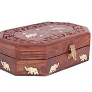 wooden jewelry box with flower engravings and elephant brass inlay