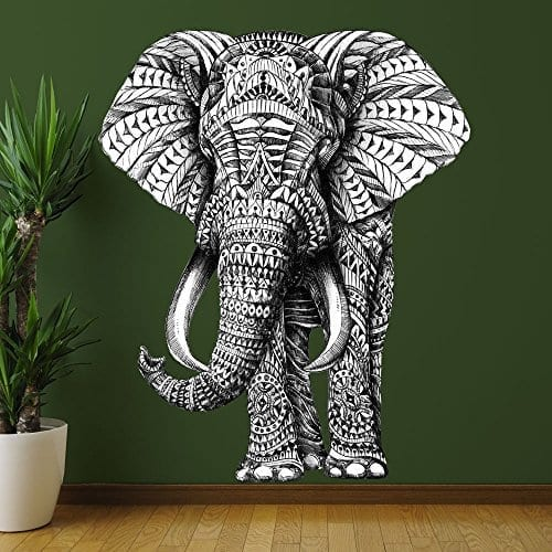 large black and white patterned elephant wall sticker