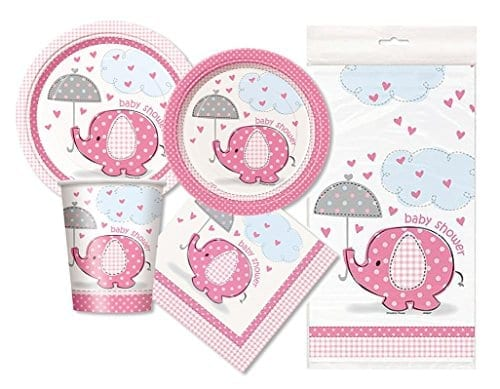 plates napkins and cups in pink with elephant holding umbrella and baby shower message