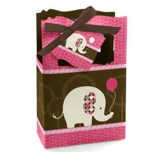 pink and brown party favor boxes with elephants holding balloons