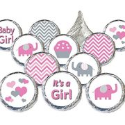 pink and grey stickers with elephants cupcakes hearts and zig zag patterns