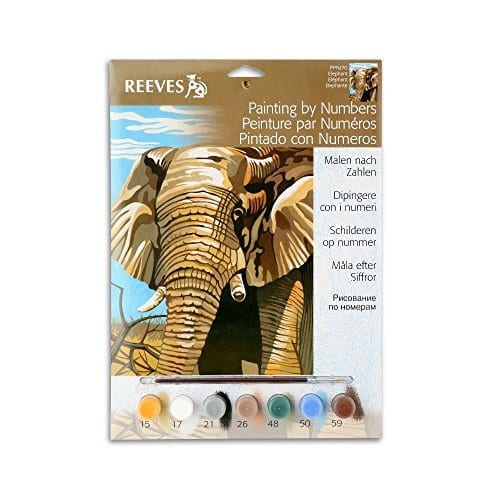 painting book with paint brush and paints included and elephant on cover
