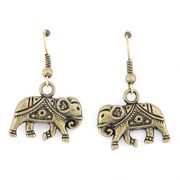 gold elephant earrings with indian patterns