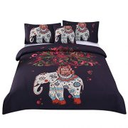 double bedding set in black with indian patterned white elephant and matching pillow cases