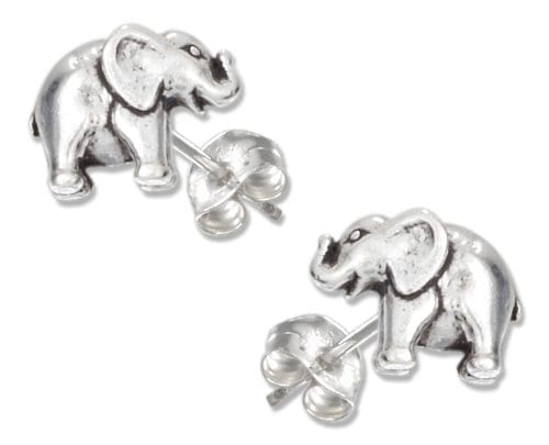 silver mini elephant on post earrings