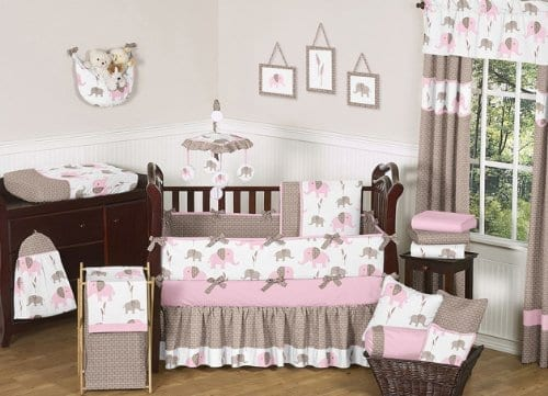 pink and brown nine piece crib bedding set with elephants