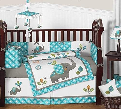 nine piece crib bedding set in blue white and grey with cute baby elephants