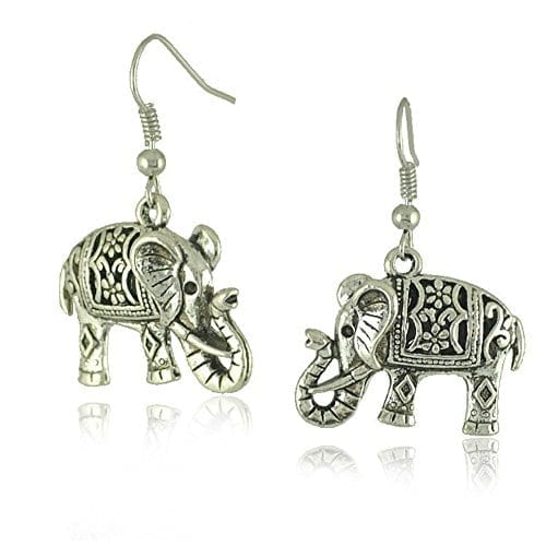 tibetan patterned silver elephant dangling earrings