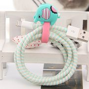 tiny blue and pink elephant cable organiser