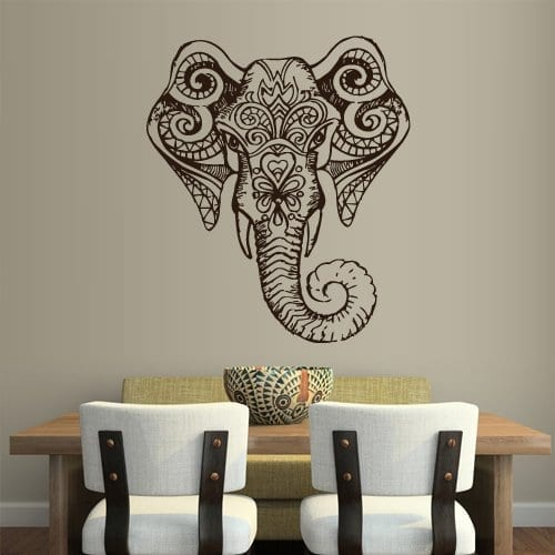 patterend black elephant head wall sticker