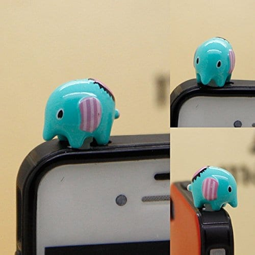 tiny blue elephant dust plug for headphone jack