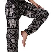 black and white yoga trousers with elephants and indian floral patterns