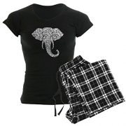 black pyjama t shirt with elephant head pattern and pyjama pants in black and white tartan