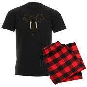 pyjama set black t shirt with elephant face and black and red chequered pants