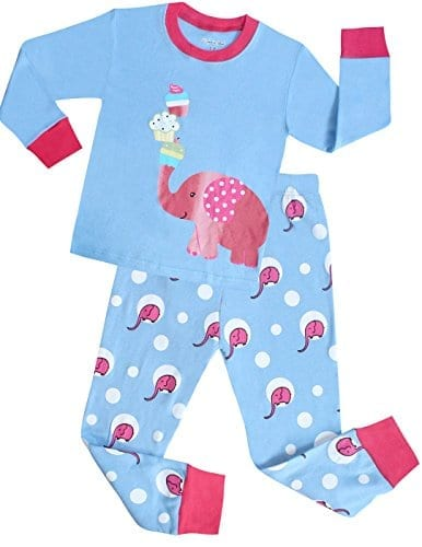 blue and pink kids pyjamas with elephants and cupcakes