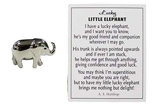 small silver elephant charm with story card