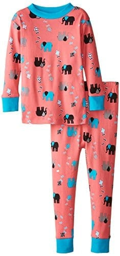 pink and blue pyjamas with blue grey and black elephants