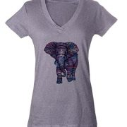 grey t shirt with purple tribal pattern elephant