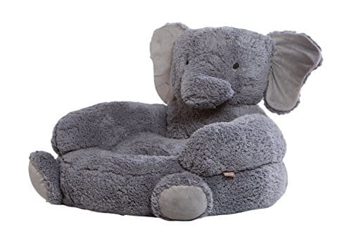 grey plush chair shaped like a hugging elephant