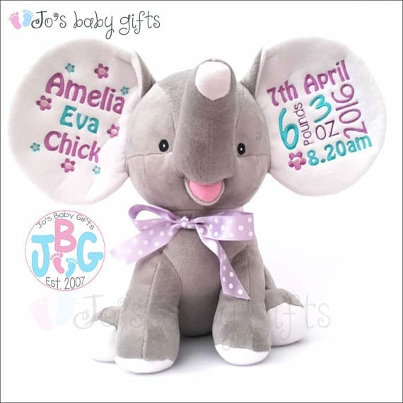 Elephant stuffed animal with personalised baby name