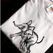 t shirt with hand sketched elephant