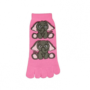 pink toe socks with two cartoon elephants