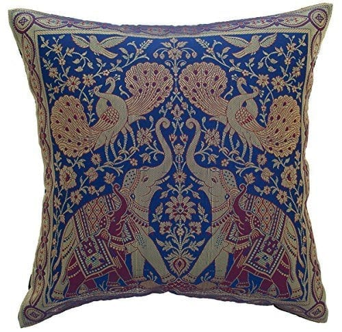 Avarada India Style Elephant Peacock Throw Pillow Cover Decorative