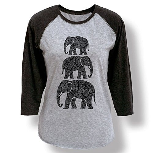 51ec654da3a38b Elephant Stacked Henna Pattern Boho Style Trendy Fashion Ladies Baseball Tee