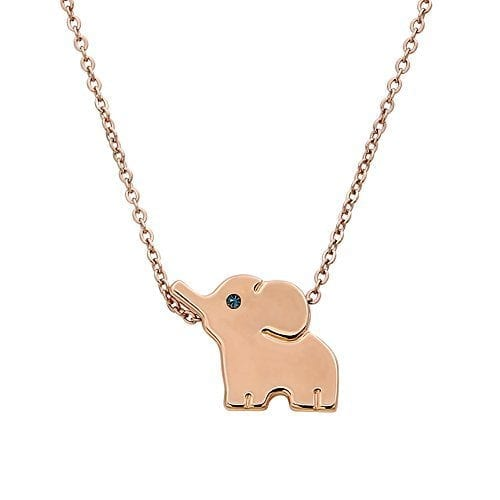 rose gold necklace with small elephant pendant with jewel for eye