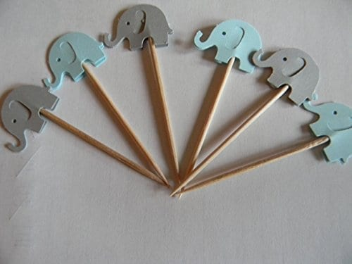 blue and grey elephant cupcake toppers